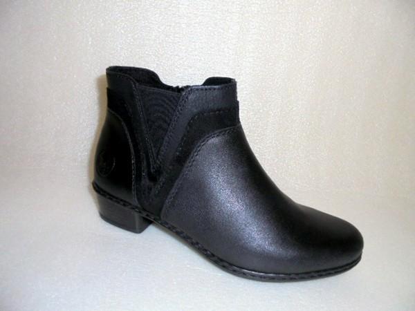 Y07B2 Rieker Damen Boots Stiefelette Leder und Kunstleder schwarz