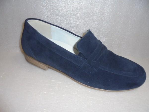Waldläufer Damen Schuhe Slipper Mokassin Leder blau 782501