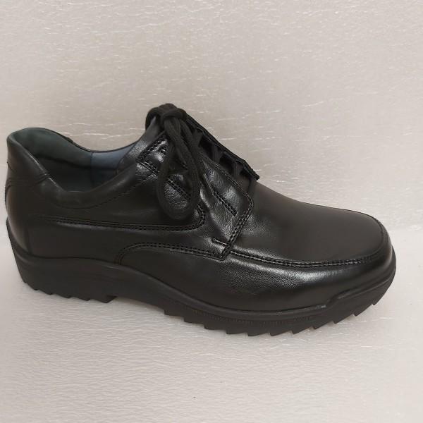 Waldläufer Herren Schnürschuhe Leder schwarz 613010 für Einlagen