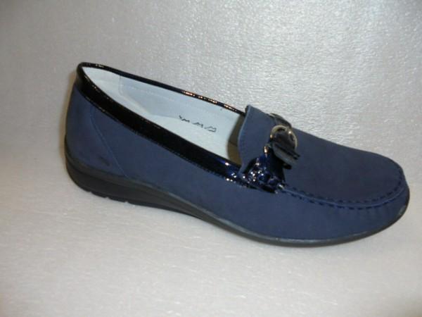 Waldläufer Damen Schuhe Slipper Mokassin Echtleder 331504 blau
