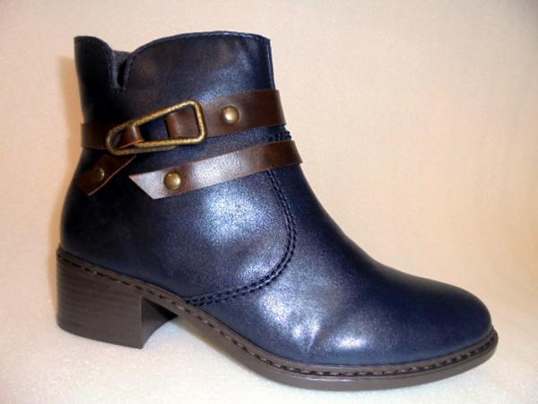 77683 Rieker Damenschuhe Boots Stiefelette Warmfutter blau