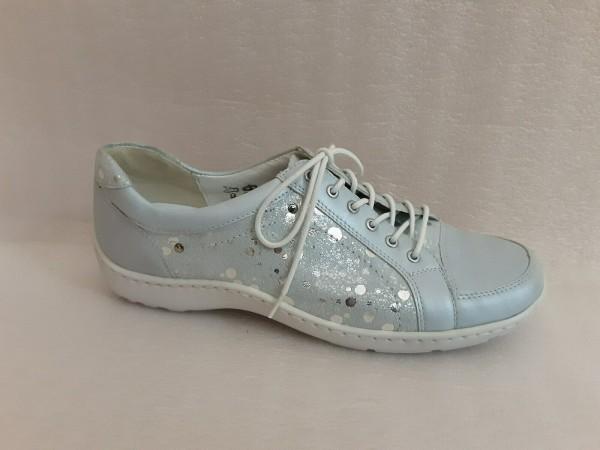 Waldläufer Damen Schuhe Schnürschuhe Leder 496005 hellblau mare