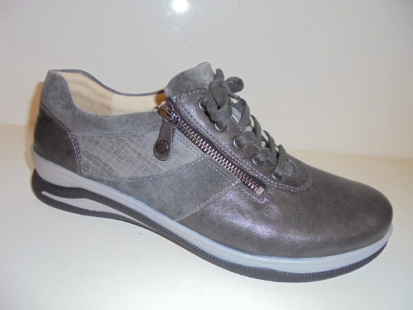 Fidelio Damenschuhe Schnürschuhe Leder grau Halluxstretch 387001