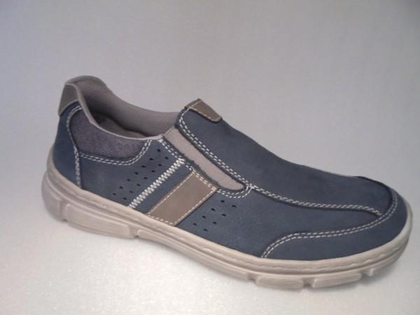 13752 Rieker Herrenschuhe Slipper blau Leder