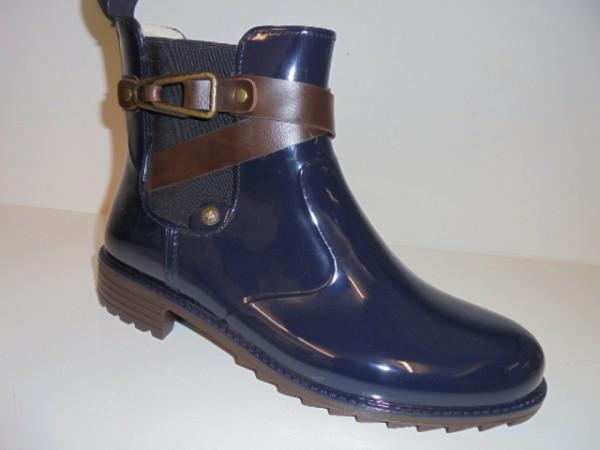P8161 Rieker Damenschuhe Boots Chelsea-Gummistiefel Warmfutter blau