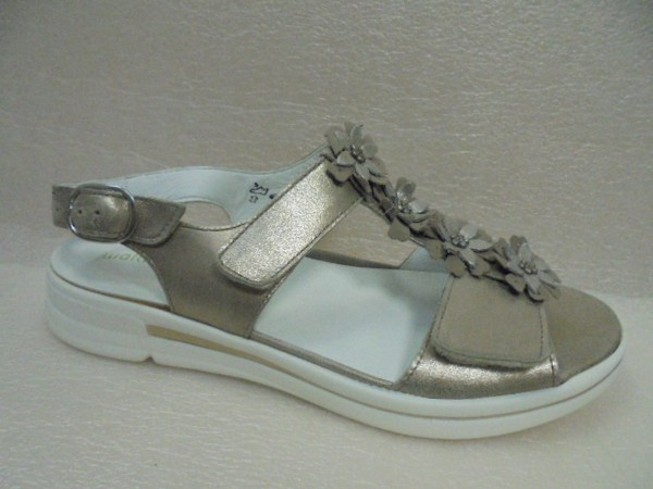 Waldläufer Damen Sandale Leder 226004 lightgold
