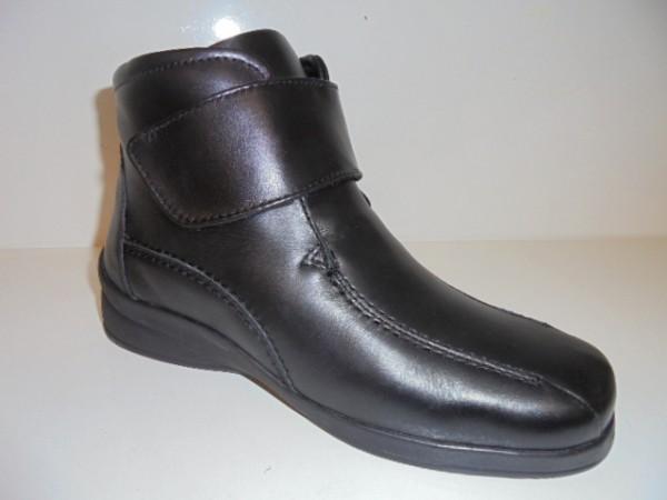 1626001 SANA Vital Damenschuhe Klettverschluß Stiefeletten Leder schwarz