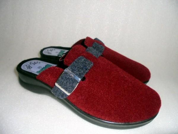 BIO Life Damenschuhe Hausschuhe Pantoffeln rot Textil