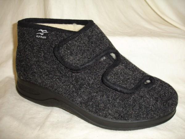 FLY FLOT Damen Schuhe Hausschuhe 861453 schwarz-grau Filz