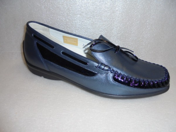 Waldläufer Damen Schuhe Slipper Mokassin Leder blau 431020 UK 6 Gr.39