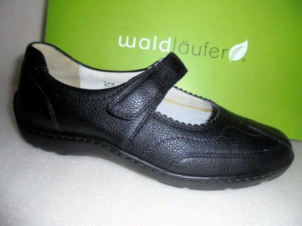 Waldläufer Ballerina Klettriemchen Leder schwarz 496302 für Damen